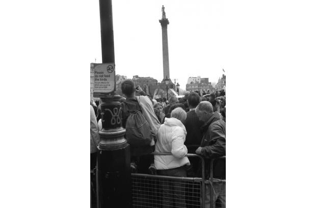 The Royal Wedding kiss, viewed on the big screen at Trafalgar Square